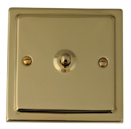 G&H TB281 Trimline Plate Polished Brass 1 Gang 1 or 2 Way Toggle Light Switch